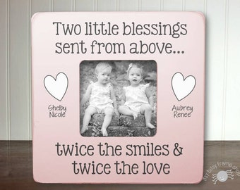 Twins Baby Gift New Baby Gift Twin Frame Boy Twins Girl Twins Gift for Twins Frame Twins New Twins Two Little Blessings From Above IB3FSBABY