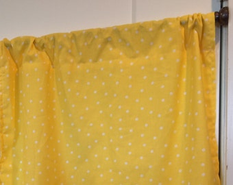 Yellow with White Polka dot curtain valance