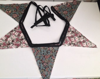 bunting flags floral print