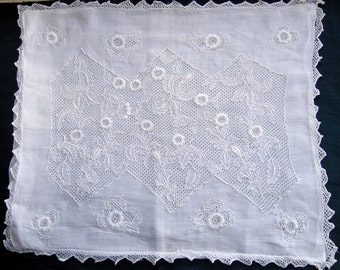 Vintage Victorian/Edwardian hand embroidered baby pillowcase,circa 1900.