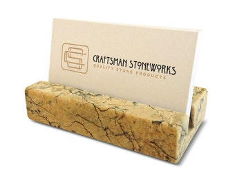 Coworker gift - Business Card Holder - Beige Marble - Office Desk Home, Recycled Marble, Recycled Stone