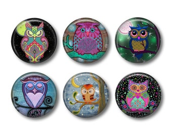 Owl Magnet, Owl Gifts, Night Owl Magnet, Fridge Magnet, Refrigerator Magnets, Magnet Set