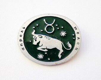 Taurus zodiac pin badge, vintage soviet Taurus pin