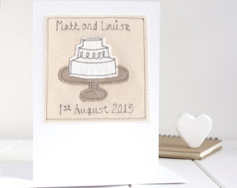 Wedding Cake Card, Personalised Wedding Card, Embroidered Card, 2nd Wedding Anniversary Card, Mr And Mrs Wedding Card, Linen Anniversary