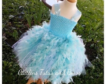 READY TO SHIP Blue Feather tutu dress, feather dress, flower girl dress, feather tutu dress, blue feather dress, blue tutu dress