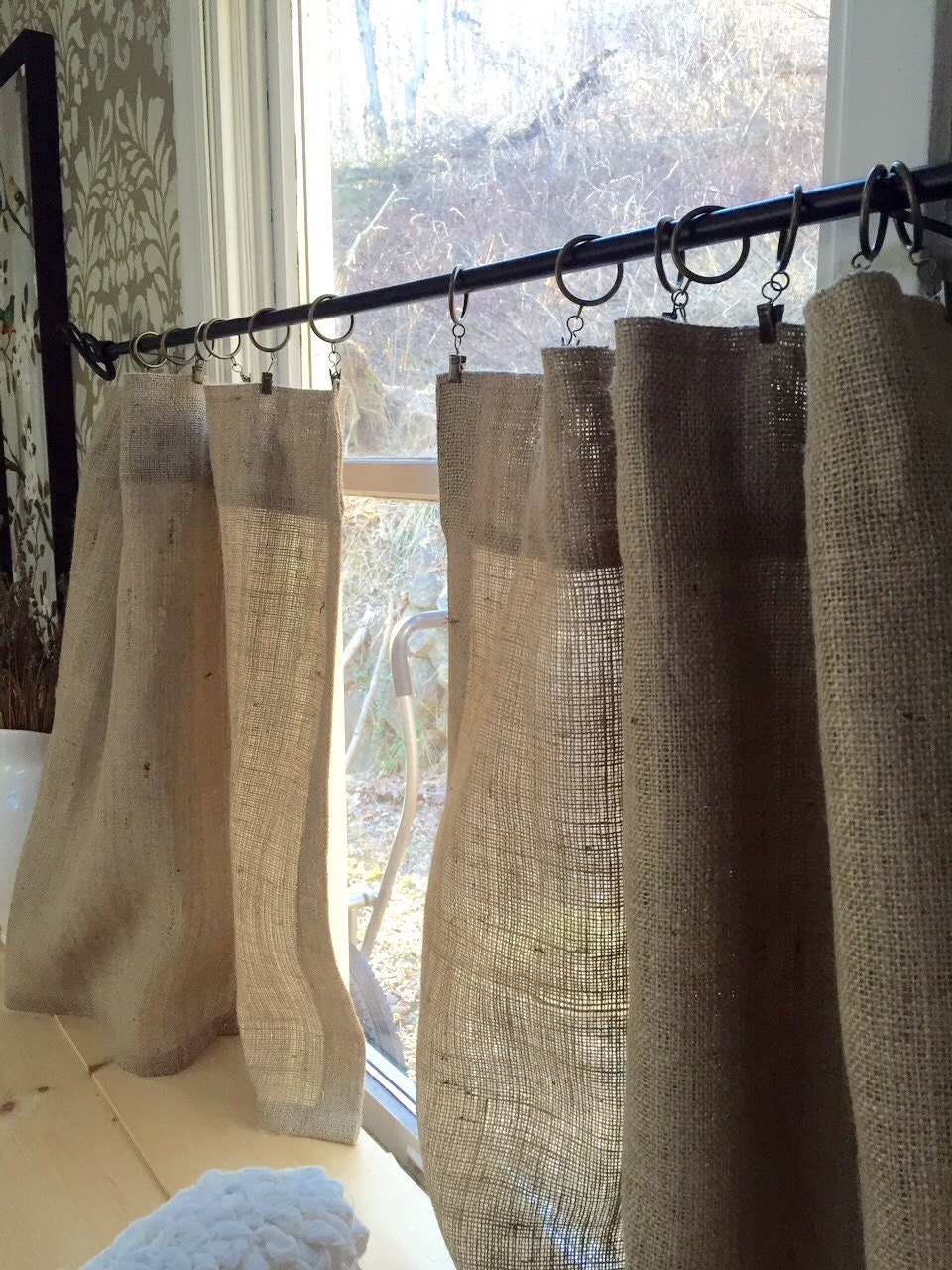 Pair Of Burlap Cafe Curtain