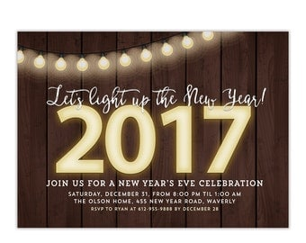 New Year's Eve Party 2017 Invitation Rustic - String Lights - Printable