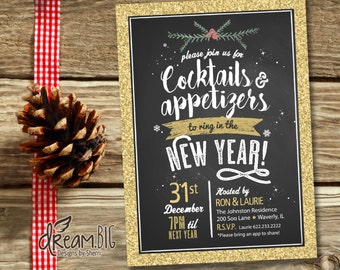New Year's Eve Party 2017 Invitation Chalkboard Rustic // Printable DIY Invite at Home // Customize