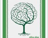 Cross Stitch Pattern Silhouette Tree Brain Tree Abstract Tree monochrome Counted Cross Stitch Pattern / Instant Download Epattern