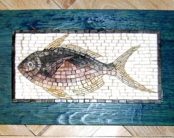 Fish mosaic panel in oak enamelled