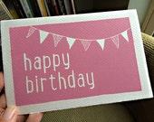 Hand printed lino birthday card - Original print - Happy Birthday block colour lino print