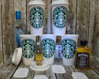 """Starbucks Coffee """"This Might Be Vodka"""" or Wine, Beer, Rum (Genuine Reusable Personalized Starbucks Cup, Mug, Tumbler)[fun holiday gift idea]"""