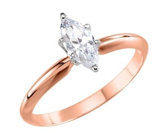 14K Rose Gold Marquise CZ Engagement Ring,  Cubic Zirconia Marquise Solitiare Ring, 1/4 Carat Marquise , 1/2 Carat Marquise, 3/4 Carat