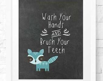 Children Decor, Bathroom art Instant download, Bathroom Decor Kids Room Art print wall decor, Bathroom art, Brush your teeth, printable art