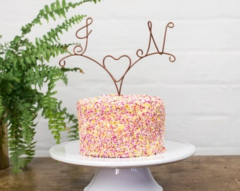 Wedding Cake Topper, Arrow cake topper, cupid cake topper, Monogram Cake Topper, Wire Cake Topper, initials for wedding, Cake Topper,
