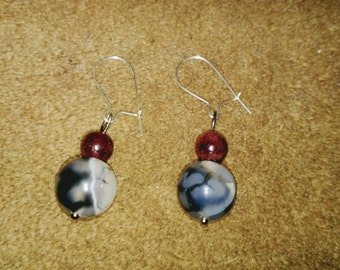 Sterling Silver Kidney Wire Earrings with Real Garnet and Agate