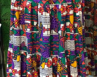 1980's geometric pattern skirt. Size L/XL.