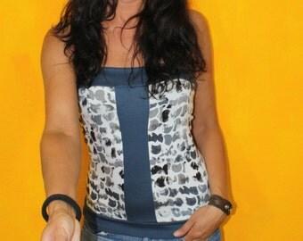 Bandeau top blue shell Sommerparty Streetwear pattern Jerseytop shoulderfree