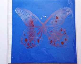 Hand printed Butterfly greeting card