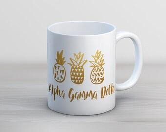 AGD Alpha Gamma Delta Faux Gold Foil Pineapple Mug Sorority Coffee Mug