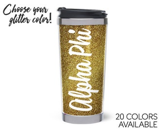 Alpha Phi // Script Glitter Stainless Steel Tumbler // Choose Your Color