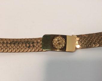 Vintage gold tone metal snake skin scale stretch belt