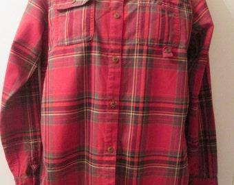 Vintage Ralph Lauren soft thick cotton red plaid blouse/shirt. Excellent condition. Size PM