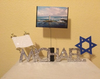 Mitzvah Centerpiece, Photo Holder, and Keepsake, 6-8 Letter Listing