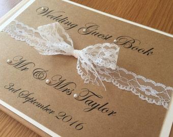 Wedding Guest Book, Rustic Wedding, Guest book, Wedding Keepsake, personalised Wedding gift, Lace guest book, lace wedding, Memory Book,