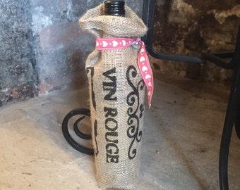 Burlap hessian 'vin rouge' gift sack