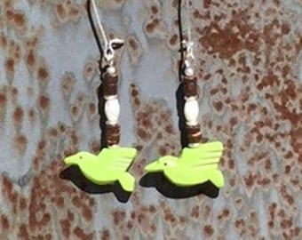 howlite hummingbird earrings