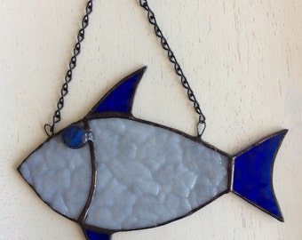 Aqua/Blue Stained Glass Fish