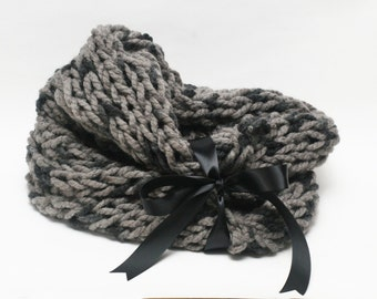 Gray Tone Bulky Open Knit Infinity Scarf with Ribbon