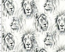 Wild Things - Roarrr! Lion Fabric - Cream - Sold by the 1/2 Yard