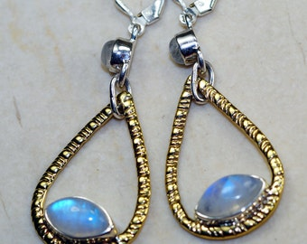 Rainbow Moonstone & 925 Sterling Silver Earrings by Silver Trend