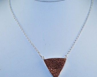 Wonderful Modern Golden  Druzy & Solid 925 Sterling Silver Bar Necklace
