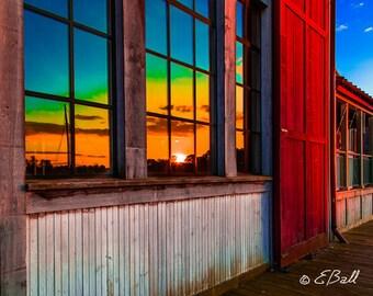 Rainbow Sunset Window Reflection Photo Print Art, Red Orange Green Blue Fire / Sunset Reflection in Glass Window Nautical Building