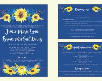 Printable Sunflower Wedding Invitation, Sunflower Wedding, Sunflower Wedding Invites, Printable Wedding Invitation, Printable Invitations