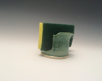 Handmade Green Stoneware Kitchen Sponge Holder - Pottery Sponge Caddy - Sponge Cup - Sink Sponge Holder