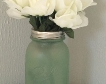 Green Sea Glass Mason Jar Vase