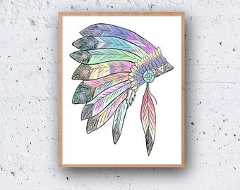 Native American Indian Style PRINTABLE Art Tribal Instant Download Digital Poster Wall Print Modern Watercolour Colourful Pastel Prints