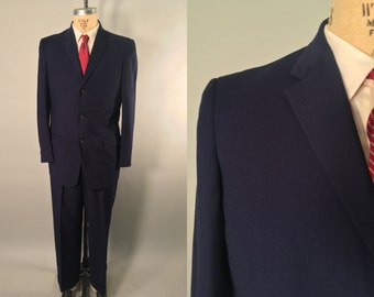 Vintage 1950s Men's Suit | Deep Blue Wool Single Breasted Suit | Size 38L