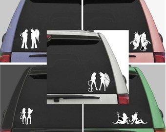 Angel and devil  car decal