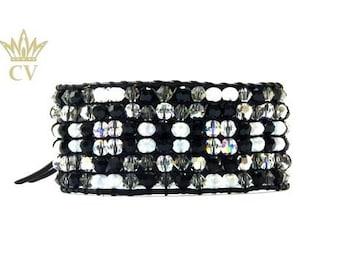 Swarovski Crystal Leather Cuff Bracelet. Chan Luu Style. Wide bracelet. Black, Silver, White Cuff. FREE SHIPPING.