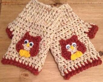 fingerless gloves. Crochet owl fingerless gloves.
