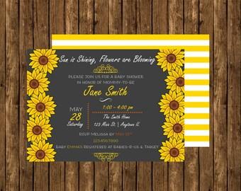 Sunflower Baby Shower Invite, Sunflower Bridal Shower Invite, Sunflower Invite, Sunflower Birthday Invite