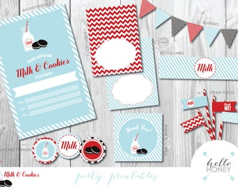 Party Printable - Milk & Cookies! - INSTANT DOWNLOAD