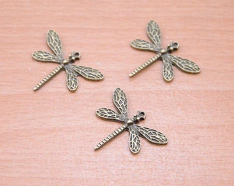dragonfly pendant finding,25pcs antique bronze odonate supply,small metal dragonfly charms accessories  strong lock