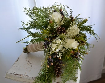 Rustic White Rose Pinecone Berries and Cedar Winter Wonderland Bridal Bouquet and Boutonniere Set Ready to Ship