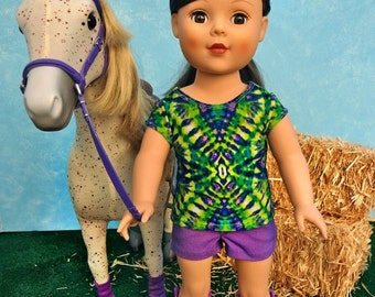 """Tie Dye Tee with Purple Shorts - 18"""" doll clothing"""